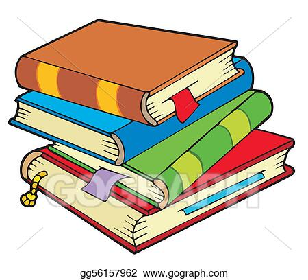 vector clipart pile of four old books vector illustration rh gograph com