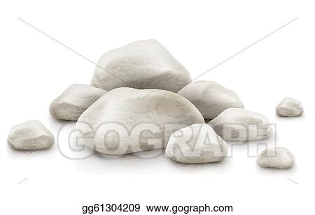 Clip Art Vector Pile Of Stones Isolated On White