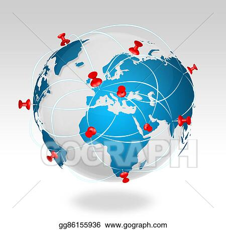 Stock illustrations pin map icon on a blue world map stock pin map icon on a blue world map gumiabroncs Gallery