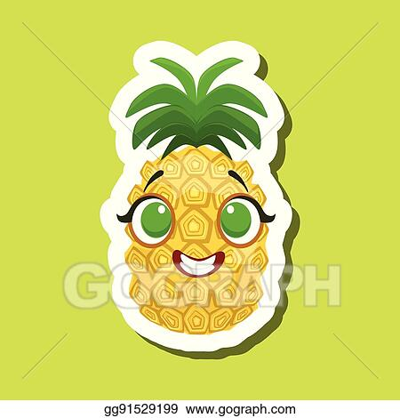 Pineapple smiling. Vector stock happily cute