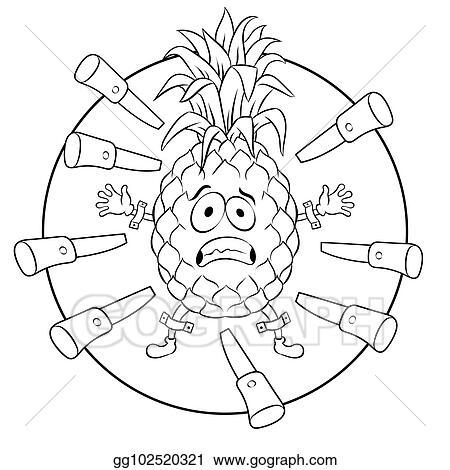 Vector Art - Pineapple target coloring book vector illustration ...