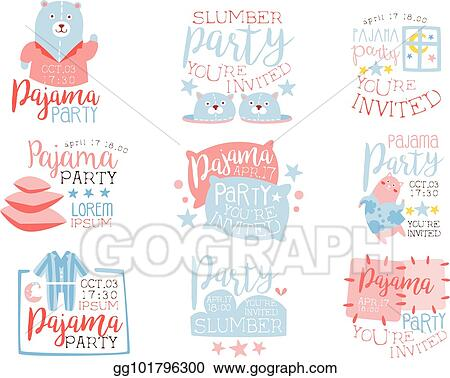 vector art pink and blue girly pajama party invitation templates