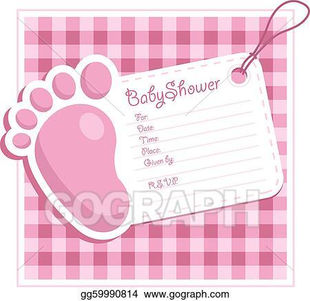 Vector illustration pink baby shower invitation stock clip art pink baby shower invitation filmwisefo