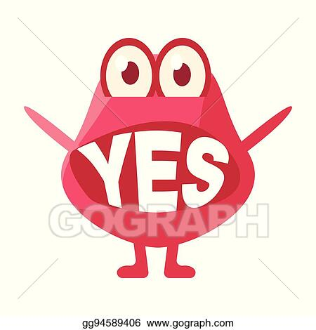 clip art vector pink blob saying yes cute emoji character with
