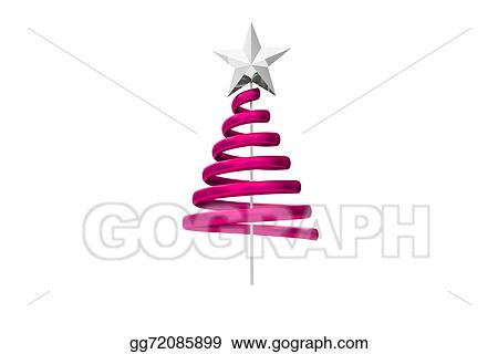 Stock Illustration Pink Christmas Tree Spiral Design Clipart