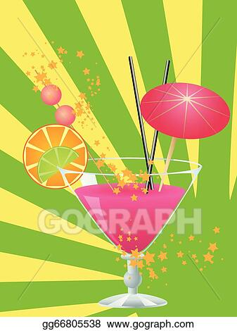 vector stock pink cocktail with decorations clipart illustration