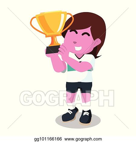 Pink Female Soccer Player Holding Trophy
