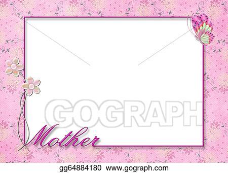 Stock Illustration - Pink floral mother\'s day frame. Clip Art ...