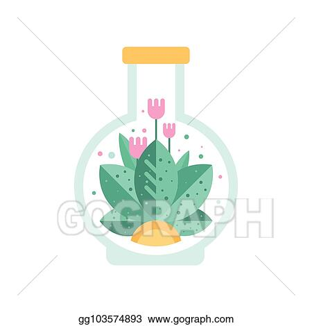 Vector Art Pink Flowers With Green Leaves Inside Glass Terrarium