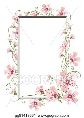 eps vector pink gypsophila flowers border frame template stock