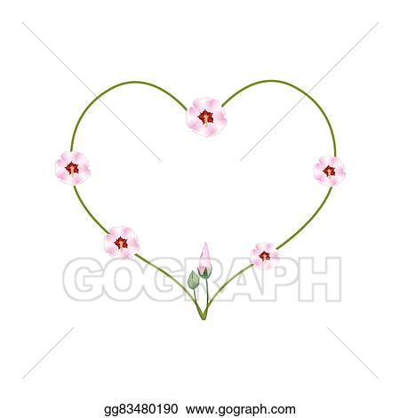 Eps Illustration Pink Hibiscus Flowers In A Heart Shape Vector