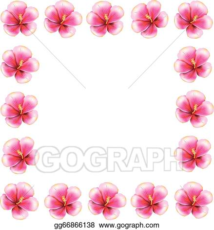 Eps Illustration Pink Hibiscus Frame Vector Clipart Gg66866138