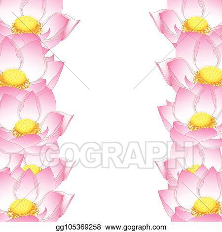 Vector Illustration Pink Indian Lotus Border Stock Clip Art