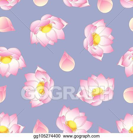Vector Illustration Pink Indian Lotus On Purple Background Stock