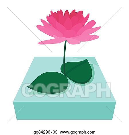 Clip Art Vector Pink Lotus Flower Icon Cartoon Style Stock Eps
