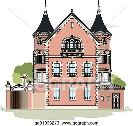 vector stock pink mansion clipart illustration gg81933273 gograph rh gograph com haunted mansion clipart big mansion clipart