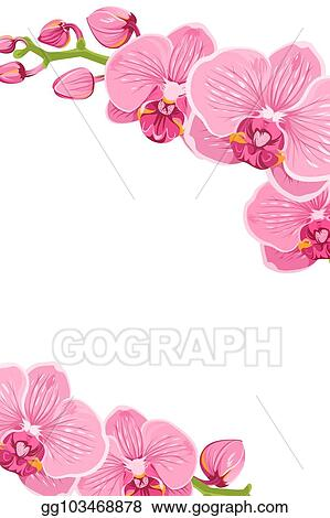 Pink Orchid Flowers Border Frame Template Card