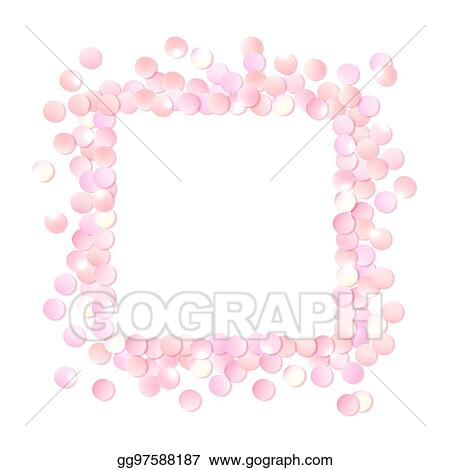 vector art pink realistic square confetti frame design template