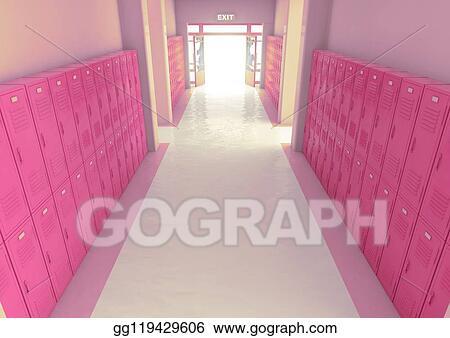 Stock Illustration Pink School Locker Exit Way Clipart Illustrations Gg119429606 Gograph