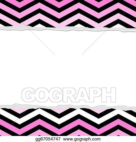 stock illustration pink white and black chevron torn background