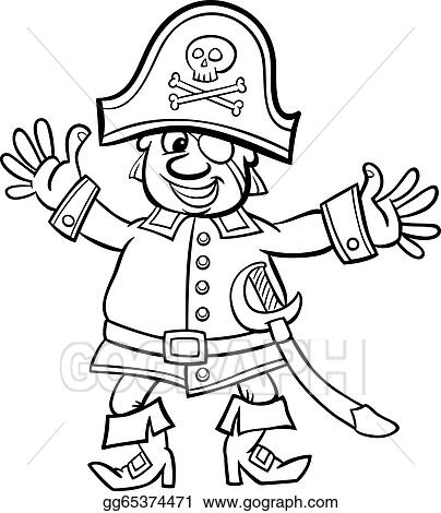 EPS Illustration - Pirate captain cartoon for coloring book. Vector ...