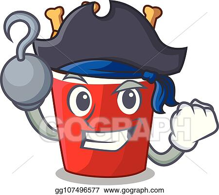 Eps Vector Pirate Character Bucket Chicken Fried Fast Food Stock