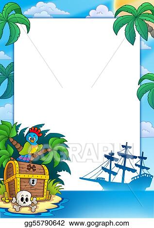 Clipart Pirate Frame With Treasure Island Stock Illustration
