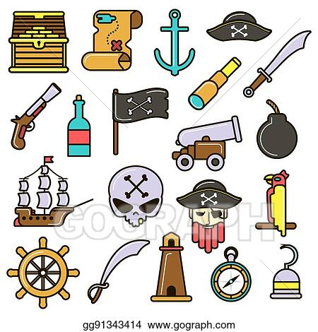 8bad2e9b EPS Vector - Pirate set. flat vector icons. Stock Clipart ...