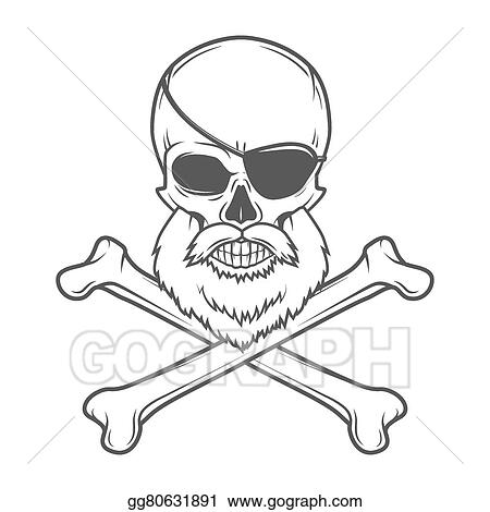 Pirate Skull With Beard Eye Patch And Crossed Bones Vector Edward Teach Portrait Corsair Logo Template Filibuster T Shirt Insignia Design
