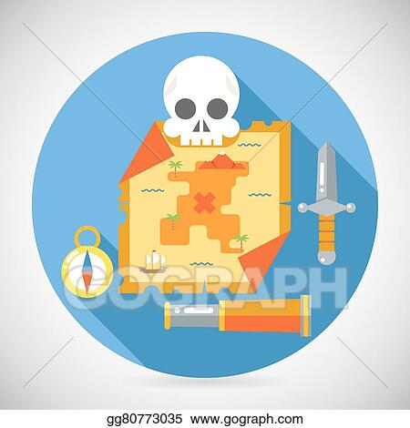 Vector Stock - Pirate treasure adventure game rpg map action knife