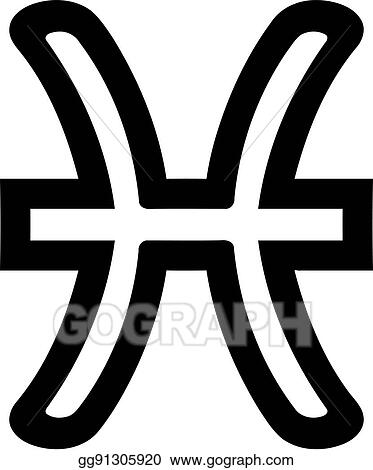 Clip Art Vector Pisces Zodiac Sign Outline Stock Eps Gg91305920