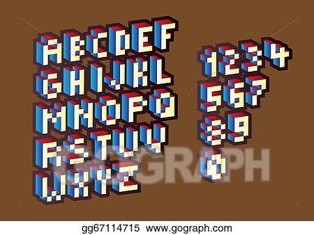 Stock Illustration - Pixel alphabet  Clipart Illustrations