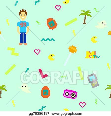 Vector Stock - Pixel art 90s retro style seamless pattern