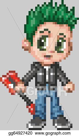 Eps Illustration Pixel Art Anime Punk Rocker Boy Vector Clipart