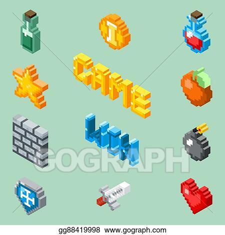 2a2f5efc69e5 EPS Vector - Pixel art game icons. 8 bit isometric pictograms vector ...