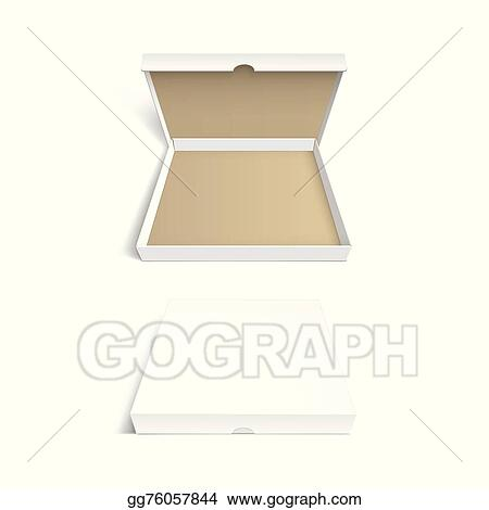 Clip Art Vector Pizza Box Packaging Template Isolated On White