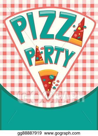 vector illustration pizza party invitation eps clipart gg88887919