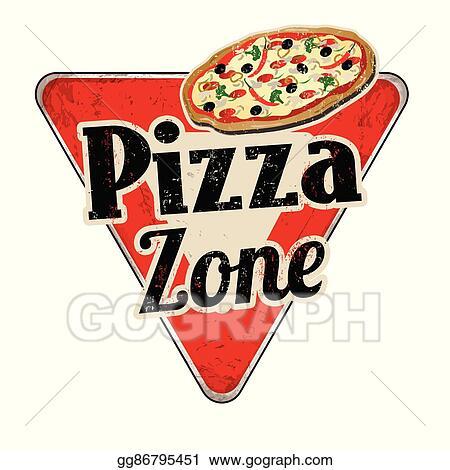 Pizza vintage. Vector art zone rusty