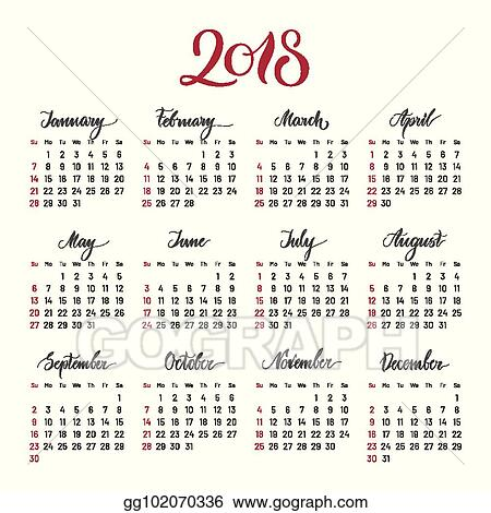 plain wall calendar 2018 year lettering flat