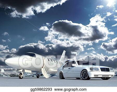 Stock Illustration Plane And Car Clipart Gg59862293 Gograph