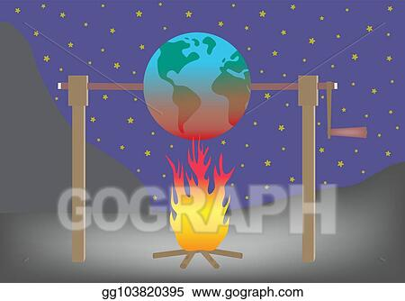 vector illustration planet earth roasting over fire global warming