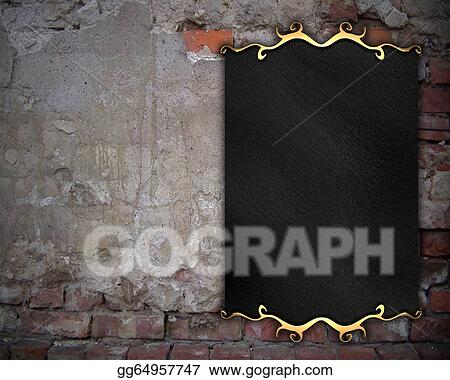 stock illustration plaque on the old brick wall design template