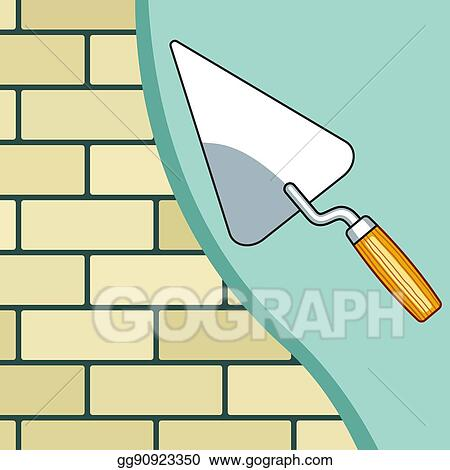 Vector Stock - Plastering the brick wall. Clipart Illustration ...