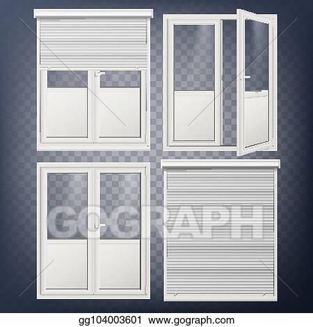 Vector Art Plastic Door Vector Modern White Roller Shutter