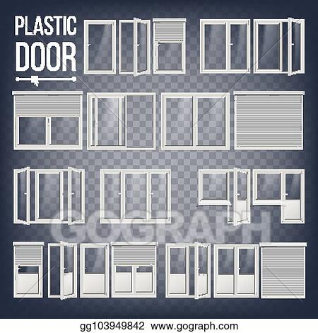 Plastic Door Vector Frame Energy Saving Diffe Types Interior Exterior Element Isolated On Transpa Background Ilration