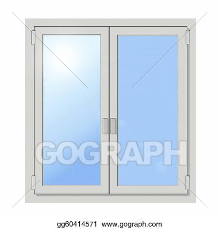 Stock Illustration Plastic Double Door Window Isolated Clipart