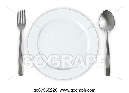 Drawing Plate And Cutlery Clipart Drawing Gg67358220