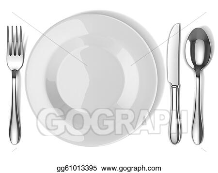 Drawing Plate And Silverware Clipart Drawing Gg61013395