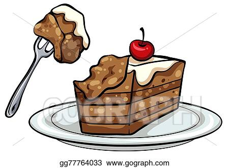 vector art plate with a slice of cake clipart drawing gg77764033 rh gograph com slice of cake clipart black and white slice of birthday cake clipart