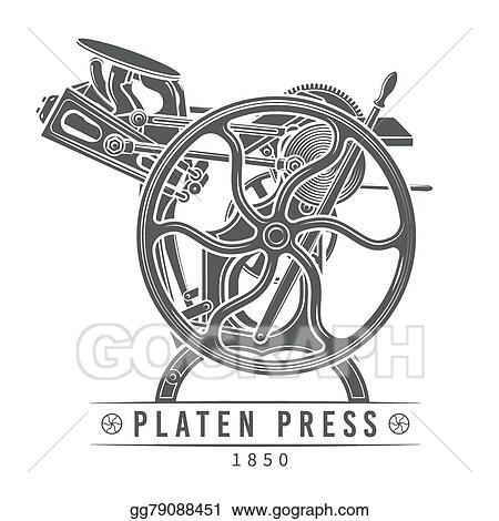 Vector Illustration - Platen press vector illustration  old